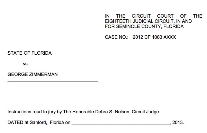 Zimmerman Trial FINAL Jury Instructions