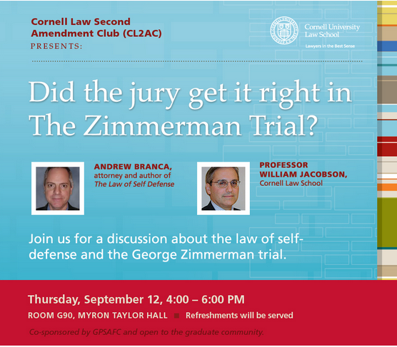 Andrew Branca, LOSD, on Zimmerman Panel at Cornell Law School