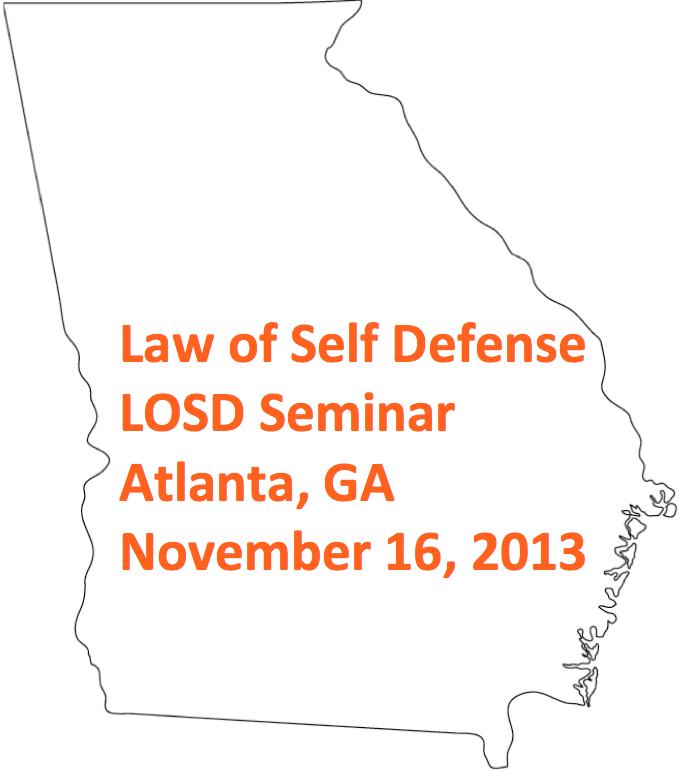 NEWS: Law of Self Defense Seminar, Atlanta, GA:  November 16